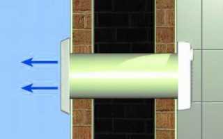 Установка вентиляционной трубы с выводом через стену
