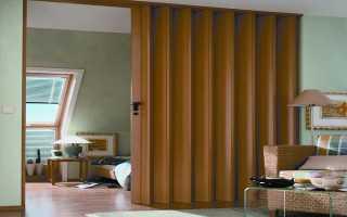 Стеклянная дверь гармошка перегородка в комнате
